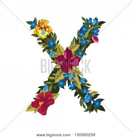 X letter. Flower capital alphabet. Colorful font. Uppercase. Vector illustration. Grotesque style. Floral alphabet.