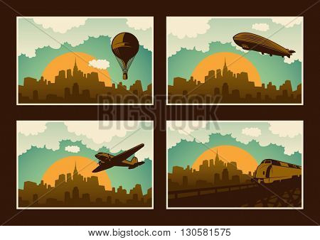 Illustration of various city panorama scenery. Vector illustration.