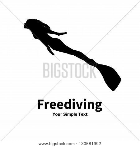 Vector illustration of a isolated silhouette of a woman diver on a white background. Freediving women.