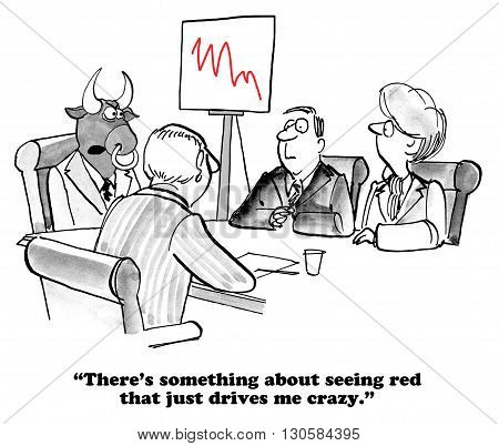 Business cartoon about a boss who goes crazy when he sees red.
