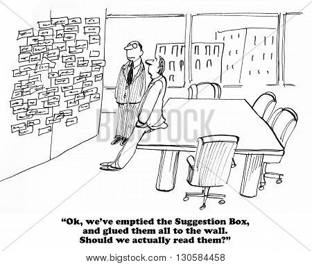 Business cartoon about many suggestions in the Suggestion Box.