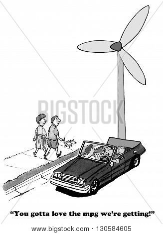 Cartoon about a high MPG car, it is powered by the wind.