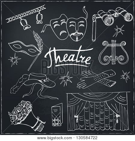 Hand drawn doodle Theater set Masks Lyra Flowers Curtain stage Sketches. Hand-drawing. Vector illustration of for design and packages product.