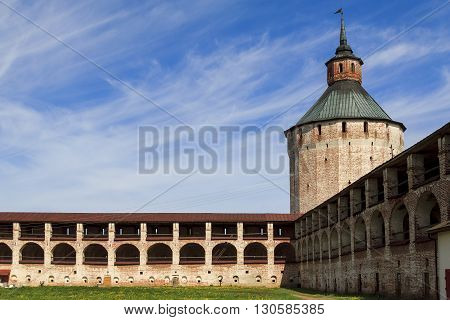 Kirillov, Russia - May 28: These are tower and walls of Kirillo-Belozersky Monastery which was in the 15-17 centuries one of the largest and richest monasteries of the Russian North May 28, 2013 in Kirillov, Russia.