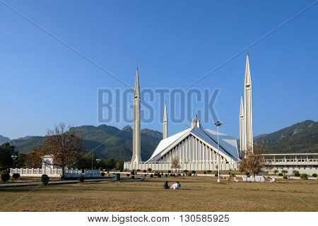 The Faisal Mosque is the largest mosque in Pakistan located in the national capital city of Islamabad.