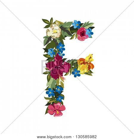 F letter. Flower capital alphabet. Colorful font. Uppercase. Vector illustration. Grotesque style. Floral alphabet.