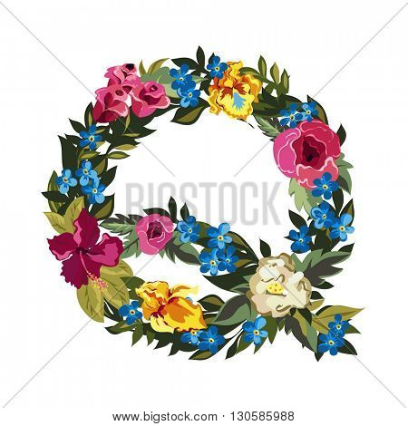 Q letter. Flower capital alphabet. Colorful font. Uppercase. Vector illustration. Grotesque style. Floral alphabet.