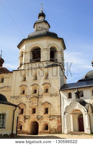Kirillov, Russia - May 28: This is bell tower of Kirillo-Belozersky Monastery which was in the 15-17 centuries one of the largest and richest monasteries of the Russian North May 28, 2013 in Kirillov, Russia.