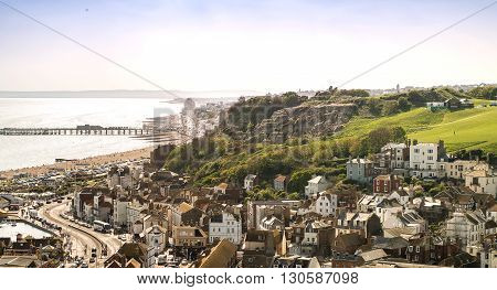 Hastings, England - May 8, 2016. Aerial view of the seaside city of Hastings in England, United Kingdom. Hastings is a well known and popular tourist destination.