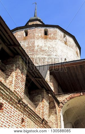 Kirillov, Russia - May 28: This is tower and walls of Kirillo-Belozersky Monastery which was in the 15-17 centuries one of the largest and richest monasteries of the Russian North May 28, 2013 in Kirillov, Russia.