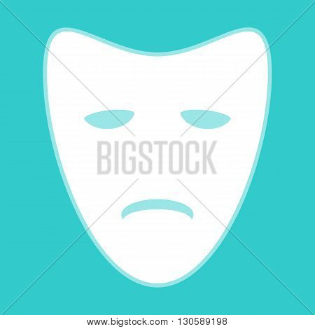 Tragedy theatrical masks. White icon with whitish background on torquoise flat color.