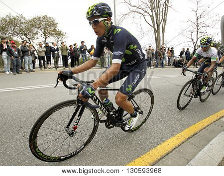 BARCELONA - MARCH, 27: Dayer Quintana of Movistar Team rides during the Tour of Catalonia cycling race through the streets of Monjuich mountain in Barcelona on March 27, 2016