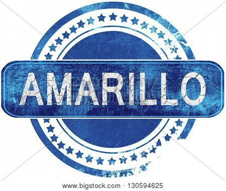 amarillo grunge blue stamp. Isolated on white.
