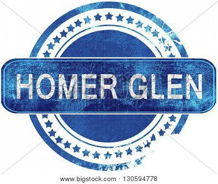 homer glen grunge blue stamp. Isolated on white.