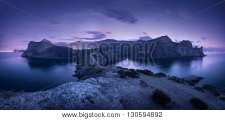 Night Landscape With Mountains, Sea And Starry Sky. Dusk