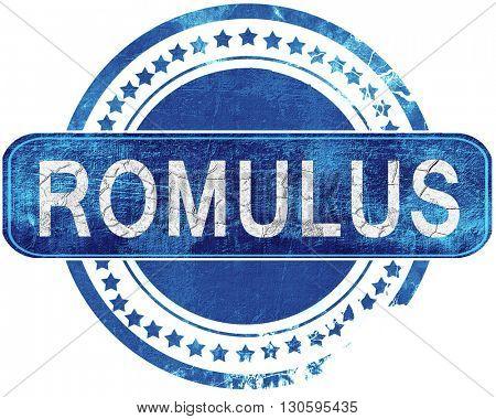 romulus grunge blue stamp. Isolated on white.