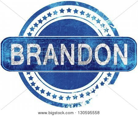 brandon grunge blue stamp. Isolated on white.