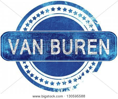 van buren grunge blue stamp. Isolated on white.
