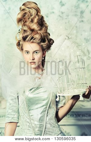 Portrait of a fashion model in a magnificent silver and white dress and high hairdo in vintage style. Historical dress, hairstyles history. Ice Queen portrait.