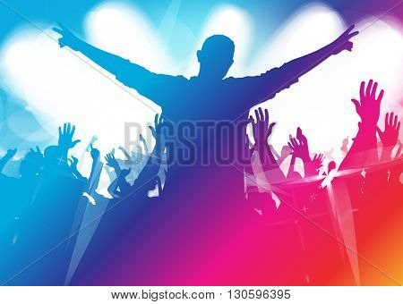 Music background with dancing people