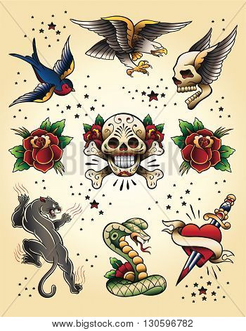 Tattoo Flash Vector Illustration Collection Elements Set