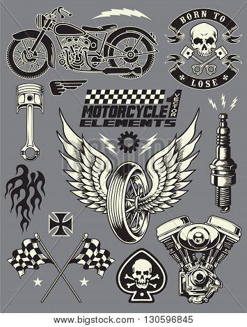 Motorcycle Variou Art Object Vector Elements Set