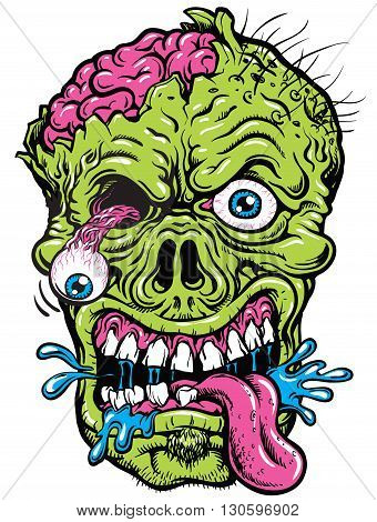 Detailed Hand Drawn Zombie Head Vector Illustration