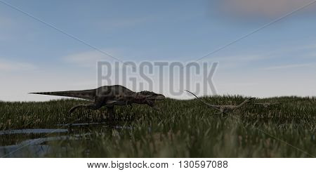 3d illustration of tarbosaurus chasing coelophysis