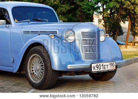 Blue Moskvich (vintage Car Ussr) On Exhibition Parking