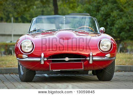 Red Jaguar E-type. Modelyear 1963 On Exhibition Parking