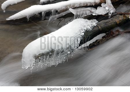 Brook In Winter Forest
