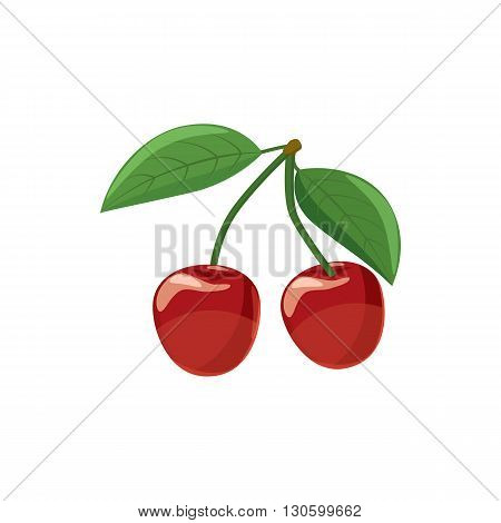 Ripe red cherry berries with icon in cartoon style on a white background