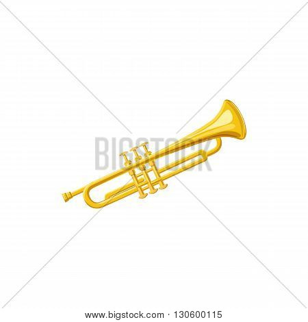 Brass trumpet icon in cartoon style on a white background