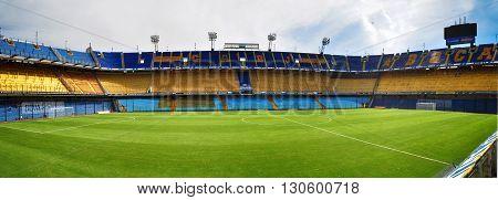 BUENOS AIRES, ARGENTINA - FEBRUARY 28, 2015: The Estadio Alberto J. Armando (La Bombonera) is a home stadium for Club Atletico Boca Juniors. Buenos Aires, Argentina.