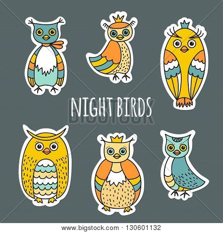Funny sketches of the night birds. Owls and owlets hand-drawn. A set of colored images in Doodle style. The white contour for the effect of cut paper. Can be used as stickers.