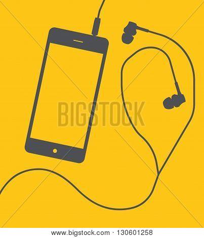 Smartphone with earphones on yellow background. Vector illustration.