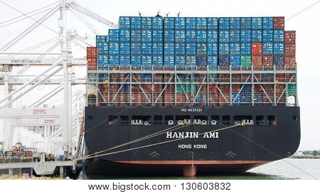 Cargo Ship Hanjin Ami Loading At The Port Of Oakland