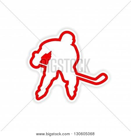 paper sticker Canadian hockey player on white background