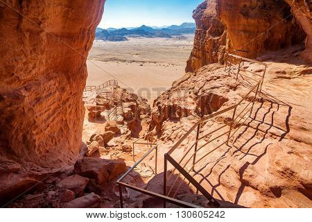 Solomons Pillars geological and historical place in Timna Park near to Eilat Israel. The first copper mines in the history and the Hathor temple were here.