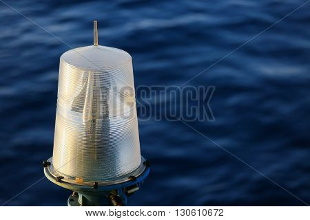 Navigation aid on the platform in offshore, Signal in marine, Light to show subject in the sea on night.