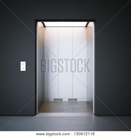 Modern elevator with closed metal  doors and dark walls. 3d rendering