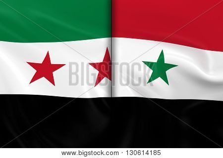 Syrian Crisis Concept Image - Flags of the Syrian Opposition and the Syrian Government Split Down the Middle - 3D Illustration