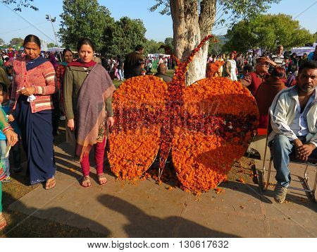Chandigarh-Feb 20: Visitors admiring flower art and posing for picture at Zakir Hussain Rose Garden during Rose Festival in Sector 16, Feb 20, 2016 in Chandigarh, India, Asia.