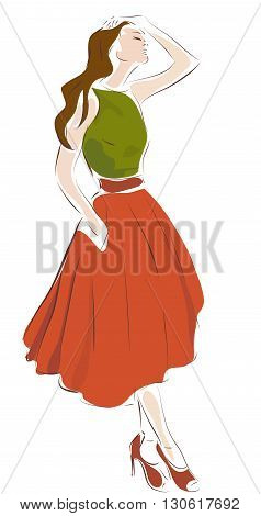 Fashion Design Illustration of a Woman in Retro Style Clothes