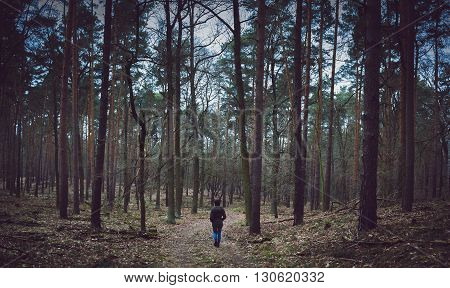 a loner man walking in the forest