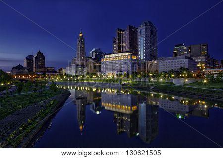 Blue hour glow of columbus, Ohio