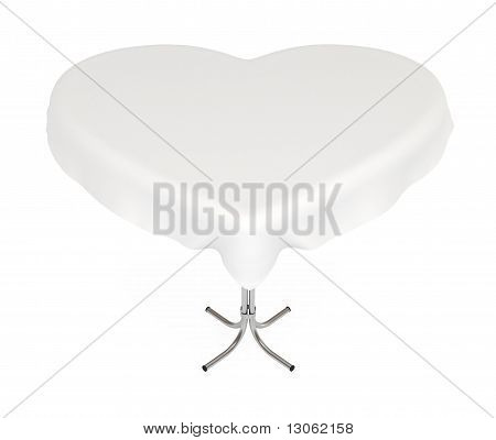 Heart-Shaped Table with Cloth, Isolated on White with Clipping Path