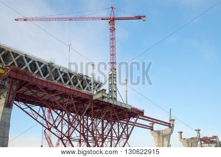 A crane on the construction of the Central section of Western high-speed diameter. Saint Petersburg, Russia