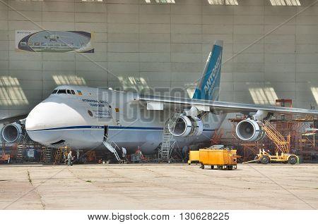 Kiev Ukraine - August 3 2011: Antonov An-124 Ruslan cargo plane during the check maintenance