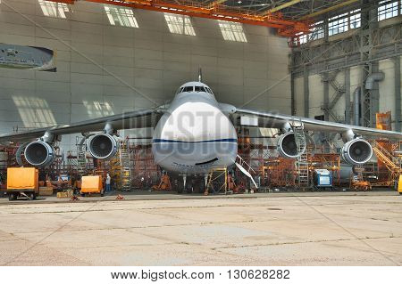 Kiev Ukraine - August 3 2011: Antonov An-124 Ruslan cargo plane being maintenanced during the regular check